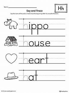 tracing letter h worksheets 23121 say and trace letter h beginning sound words worksheet myteachingstation