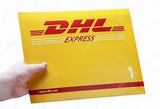 holding envelope logo dhl stock editorial photo