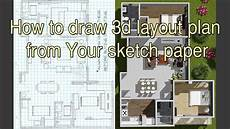 awesome sketch plan for 3 how to draw 3d layout plan from your sketch paper youtube