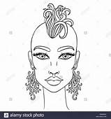 Doodle Girl With Shaved Head And Earrings Womens Portrait