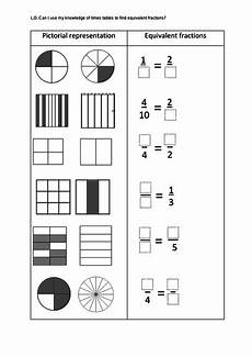 year 3 equivalent fractions pictorial worksheet teaching resources