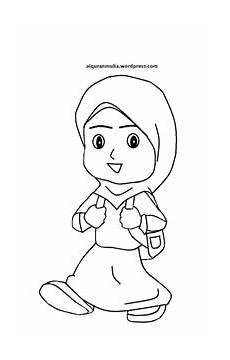 Mewarnai Gambar Kartun Anak Muslimah 56 Alqur Anmulia
