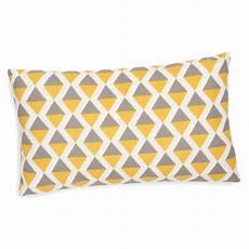housse de coussin en coton grise jaune 30 x 50 cm sintra