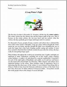 comprehension winter solstice elementary abcteach