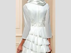 Chiffon Tiered Long Sleeve Wedding Dress with Hijab