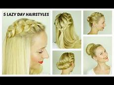 5 easy lazy day hairstyles quick and easy hairstyles for short medium hair youtube