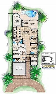 narrow lake lot house plans mediterranean house plan 1 story spanish waterfront style