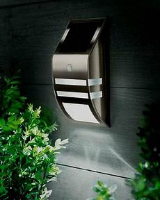 motion sensor stainless steel wall white led light outdoor solar powered garden ebay