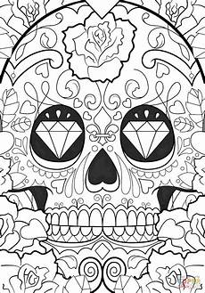 day of the dead pattern coloring page free printable