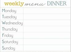 Weekly Supper Menu Planner   Supper With Nana
