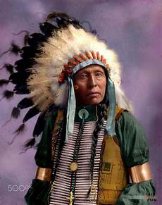 Indian Chief Picture colorized a vintage photo of a american indian