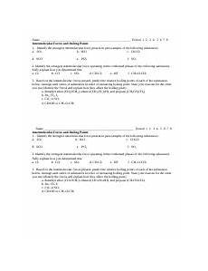intermolecular force worksheet 1 intermolecular force worksheet 1 identify the strongest