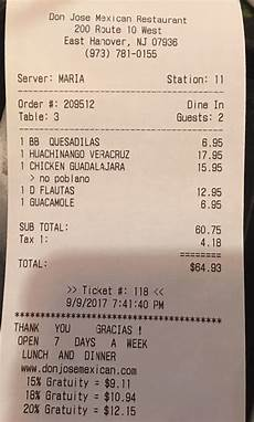 our receipt to prove that we were real customers i like the tip amounts are based the quot pre