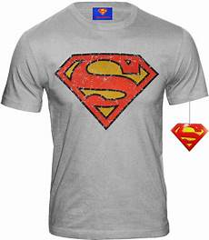 superman helden t shirt mit superman logo retro comic grau