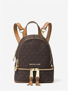 michael kors brown rhea mini logo backpack outlet