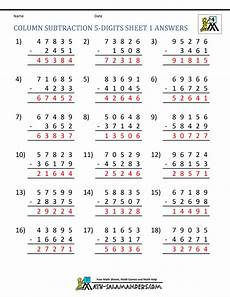 subtraction worksheets difficult 10043 5 digit subtraction worksheets