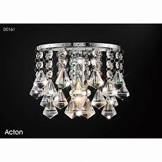 switched wall light crystal deco acton single light switched prism crystal wall fitting in polished chrome finish