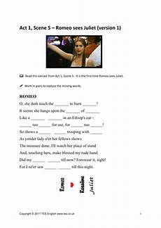 romeo and juliet worksheets for act 1 scene 5 by tesenglish teaching resources tes