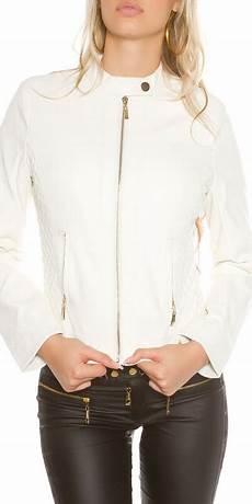 veste tendance simili cuir femme blanc