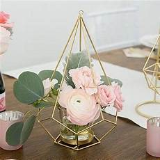 tall gold geometric candle or flower centrepiece sale