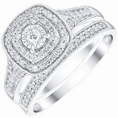 9ct white goldg 0 33ct diamond illusion bridal