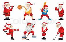 set of sporty santa claus characters sports