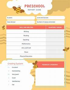 card template preschool report card templates