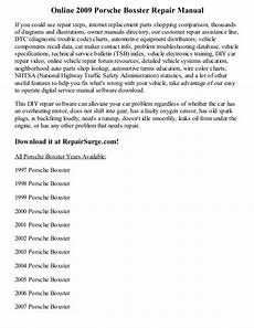how to download repair manuals 2009 porsche boxster spare parts catalogs 2009 porsche boxster repair manual online