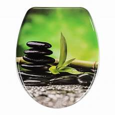 wenko wc sitz mit absenkautomatik steine und bambus motiv