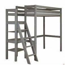 lit 1 personne mezzanine lit mezzanine en 90x190 joan pin gris achat vente lit
