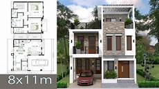 Home Design Plan 8x11m With 3 Bedrooms Sketchup Modern