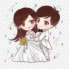 Kartun Pernikahan Romantis Yang Digambar Tangan Png Grafik
