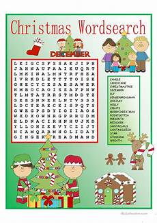christmas wordsearch with key worksheet free esl