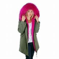 lang damen parka mit pink pelzbesatz f 252 r kapuze jacke mit