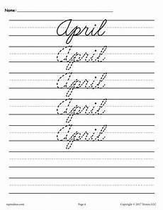 12 free months of the year cursive handwriting worksheets handwriting practice sheets cursive