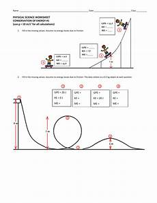 physical science worksheet conservation of energy 2 13019 conservation of energy worksheet 1