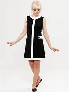 Mademoiselle Yeye Louise Retro 60s Mod Dress In Black White