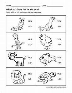 animals worksheet for preschool 14121 animals that live in water worksheets for preschools