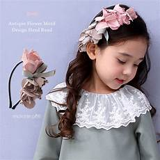 enchante petit flower motif design head band pink kids formal hair band head