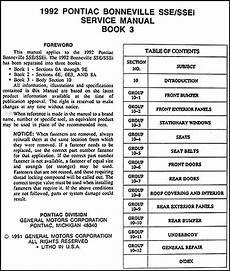 online auto repair manual 1992 pontiac bonneville on board diagnostic system 1992 pontiac bonneville sse ssei repair shop manual original 3 volume set