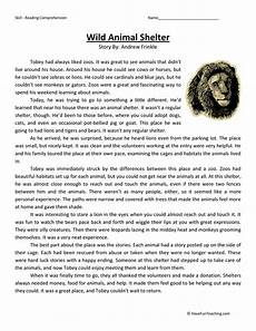 animal reading worksheets 14021 animal shelter reading comprehension worksheet