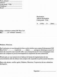 Changement D Abonnement Edf Mod 232 Le De Lettre Pour R 233 Silier Un Contrat Edf Bleu Ciel