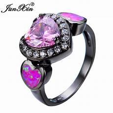 junxin pink opal heart ring black gold filled