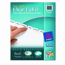 avery dennison maker clear label divider im 12 tab 5st we of 5 11429