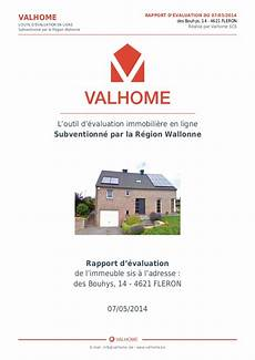 estimation du prix d une maison exemple d un rapport d 233 valuation immobili 232 re par quot valhome quot