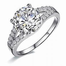 2 carat white gold 585 round brilliant cute synthetic diamonds women wedding ring bonzer design