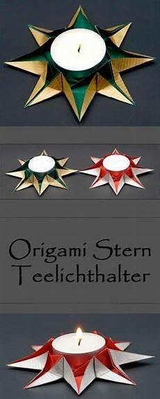 Weihnachtsdeko Basteln Aus Papier - origami sterne teelichthalter falten zu weihnachten