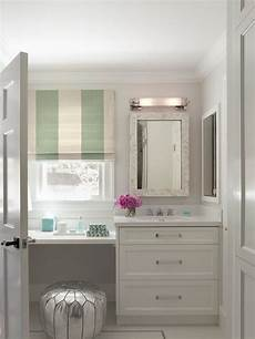 Bathroom Vanity With Dressing Table by Bathroom With Silver Moroccan Pouf Tucked A