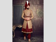 Beige Maroon Silk Layered Anarkali Sherwani   Wedding