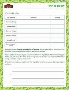 types of energy worksheet types of energy printable 6th grade science worksheet sod